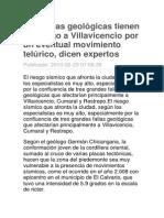 Tres Fallas Geológicas Tienen en Riesgo a Villavicencio Por Un Eventual Movimiento Telúrico