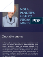 Health Promotion Model by nola pender
