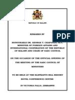 Minister Speech Victoria Falls