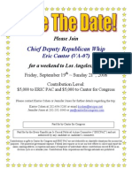 Weekend to Los Angeles, CA for Eric Cantor, Every Republican Is Crucial PAC (ERICPAC)