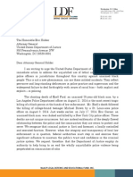 Letter to Attorney General Holder regarding use of excessive force by police