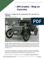 Historia y Origen de Los Pavimentos de Concreto en Colombia