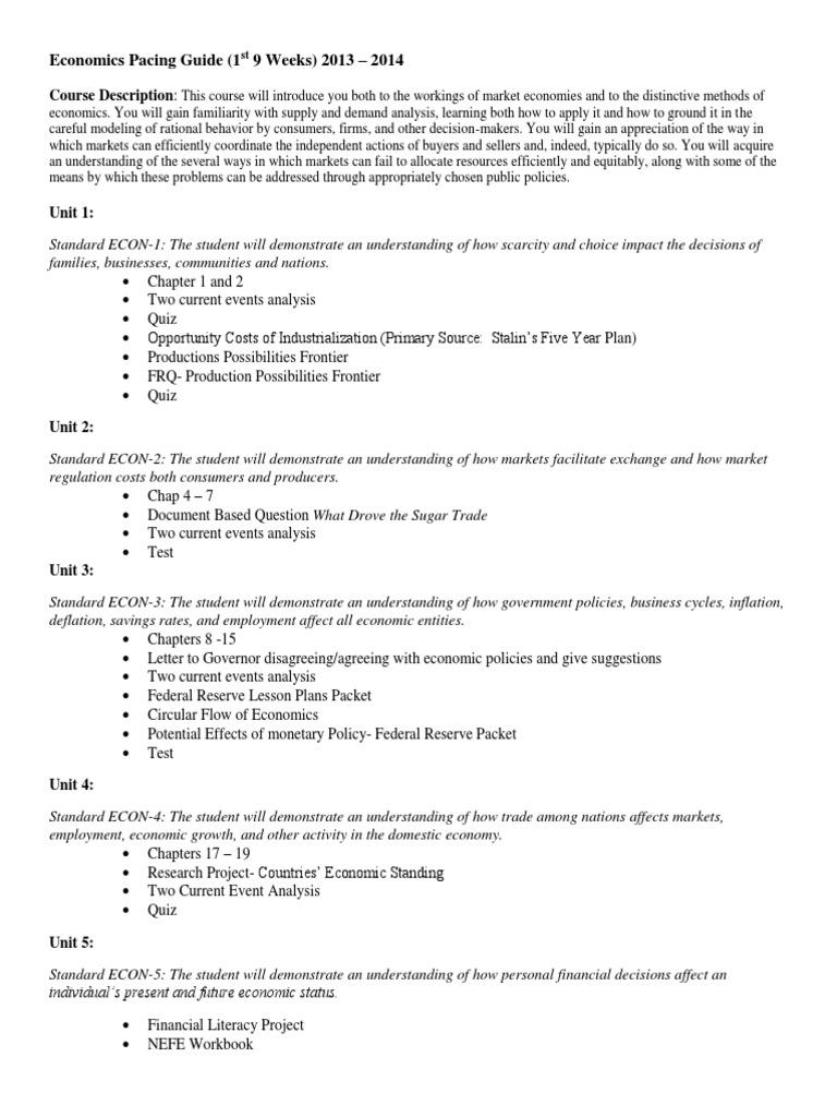 economics syllabus | Test (Assessment) | Market (Economics)