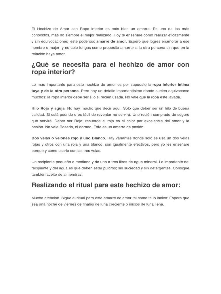 El Hechizo de Amor Con Ropa Interior Es Más Bien Un Amarre 7a6213b69720