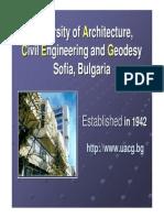 Presentation of Faculty of Civil engineering, UACEG, Sofia