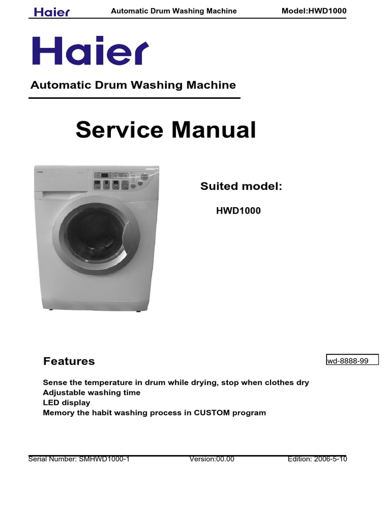 Haier Hwd 1000 Wiring Diagram Free Download Manual Washing Machine Images Gallery Hwd1000