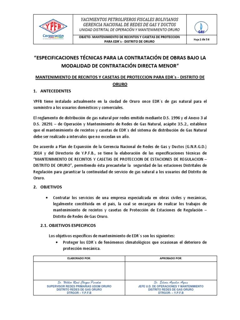 1 Especificaciones Tecnicas Mantenimiento de Edrs Distrito de Oruro