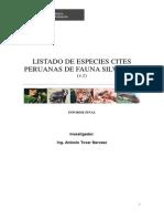 Listado de Especies Cites Peruanas de Fauna Silvestre