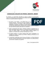 COMUNICADO CONJUNTO DE PRENSA  MININTER - MINDEF
