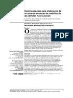 Artigo - Recomendações Para Elaboração de Orçamento de Obras de Reabilitação de Edifícios Habitacionais