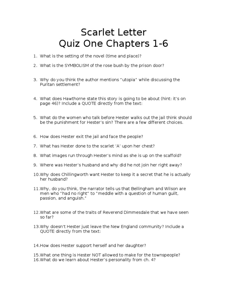 Scarlet letter quiz one chapters 1 6 the scarlet letter novels biocorpaavc