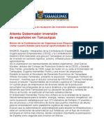 com0887 260906 Alienta Gobernador Eugenio Hernández inversión  de españoles en Tamaulipas
