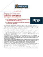 com0888 270906 Dispone el Gobernador Eugenio Hernández Flores programas especiales de   ayuda para damnificados