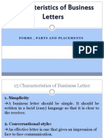 characteristics of business letters
