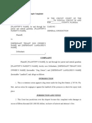 Dog Bite Sample Complaint | Damages | Negligence