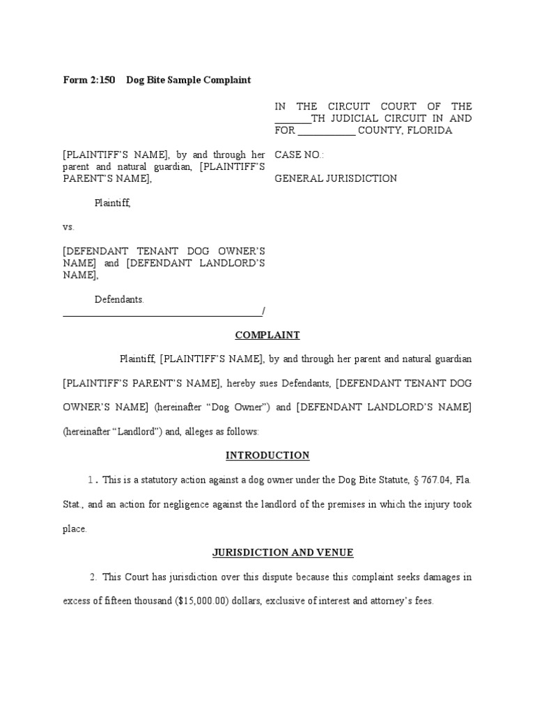 Example Letter For Filing Complaint Against Dog