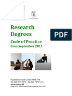Research Degrees Code of Practice 2011