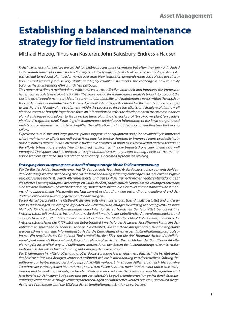Instrumentation Maintenance Calibration Reliability