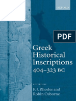 Greek Historical Inscriptions (404-323 Bc)