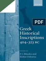Greek Historical Inscriptions (404-323 Bc)