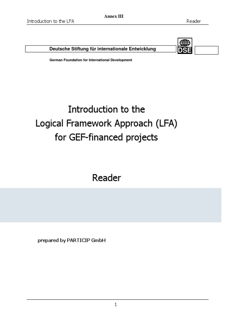 The Logical Framework Approach Introduction For Gef Financed