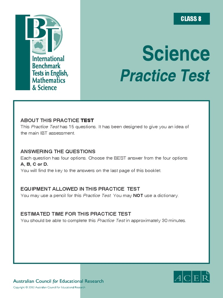 IBT (International Benchmark Test) Sample Paper Grade 8 Science ...