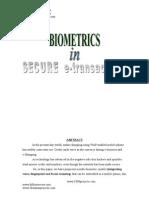 Biometrics In Secure E-Transaction