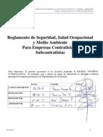 Reglamento de Seguridad, Salud Ocupacional y Medio Ambiente Para Empresas Contratistas y Subcontratistas