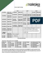 Fall Schedule 2014-2015