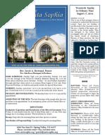 Santa Sophia Bulletin - Aug 17, 2014