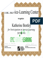 service learning certificate-spring 2013