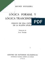 Husserl Logica Formal y Logica Trascendental