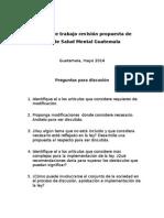 Propuesta de Ley Salud Mental Guatemala