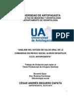 """Trabajo Titulación César Reguero Zapata 2014 """"Análisis Del Estado de Salud Oral de La Comunidad en Riesgo Social Aldeas Infantiles s.o.s. Antofagasta"""""""