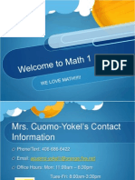Math 1 Announcement