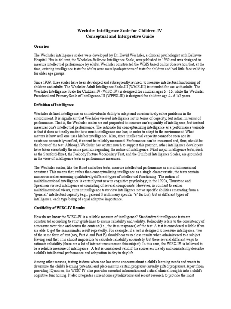 WISC 4 Descriptions   Wechsler Adult Intelligence Scale