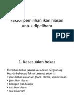 Faktor Pemilihan Ikan Hiasan Untuk Dipelihara