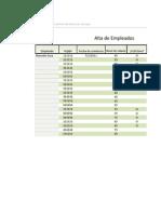 Planilla de Excel de Alta de Empleados