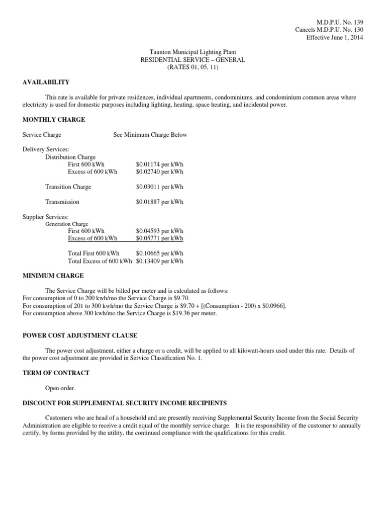 taunton municipal lighting plant rates kilowatt hour principal