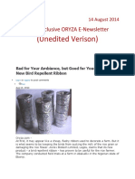 14 August,2014 Daily Global ORYZA E-Newsletter by Riceplus Magazine ( Unedited Version)