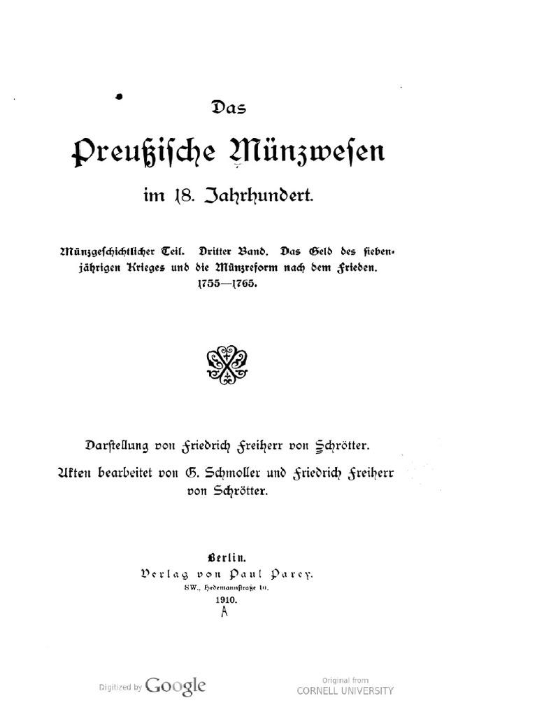 Das Preussische Münzwesen im 18. Jahrhundert. Münzgeschichtlicher ...