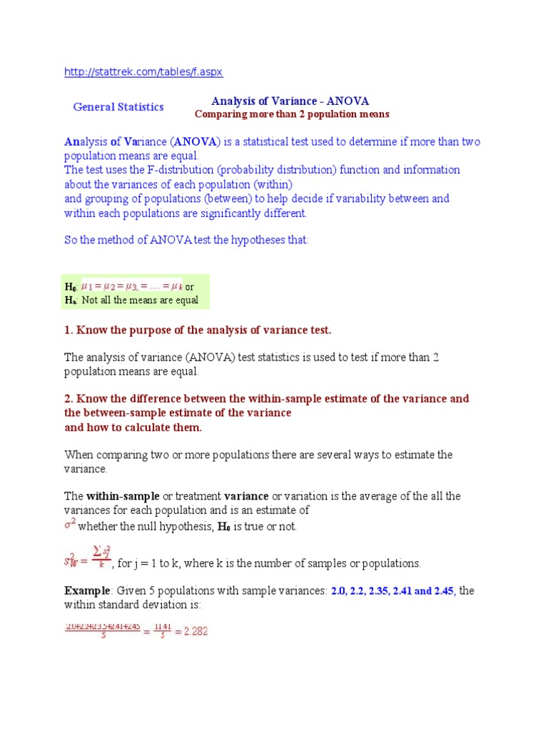 How To Calculate Mean, Standard Deviation, And Standard Error Httpanova  Analysis Of Variance