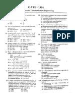 GATE ECE Solved Paper 1994