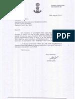 Letter Dated 14.08.2014 of Mr. Sanjiv Jain (Registrar Supreme Court)