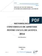 Metodologie Admitere Licenta FEAA 2014