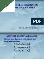 Riza Setyawan (j11109030) Metode Eliminasi Gauss & Metode Cramer