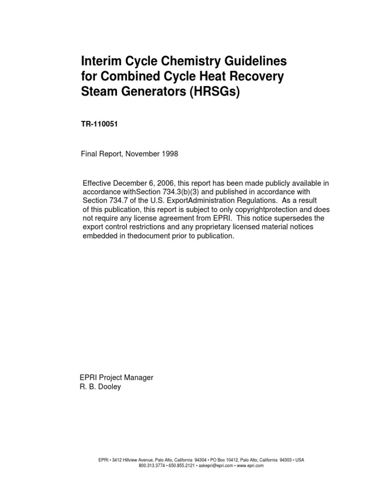 interim cycle chemistry guidelines for combined cycle heat recovery rh es scribd com epri primary water chemistry guidelines epri pwr water chemistry guidelines