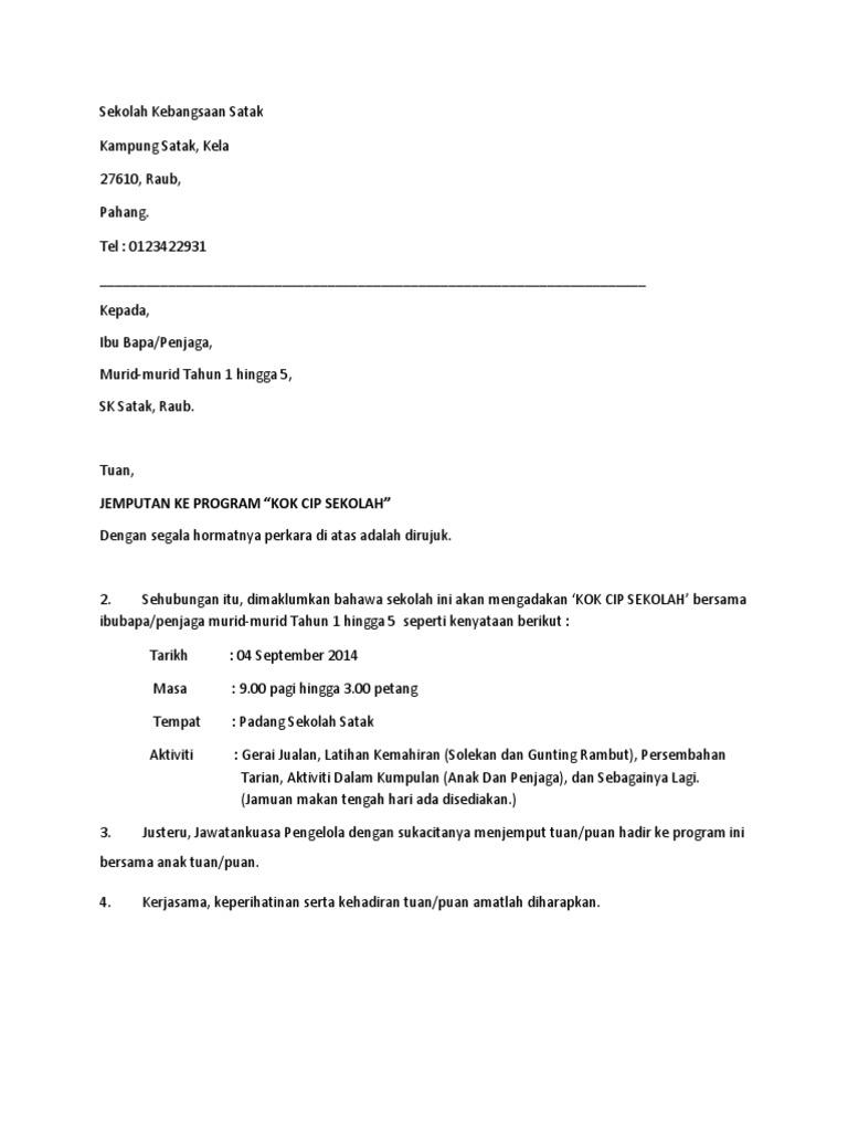 Contoh Surat Jemputan Merasmikan Program Contoh Surat