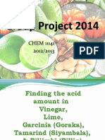 Acidity of some Basic Culinary materials ; Group Project 2014