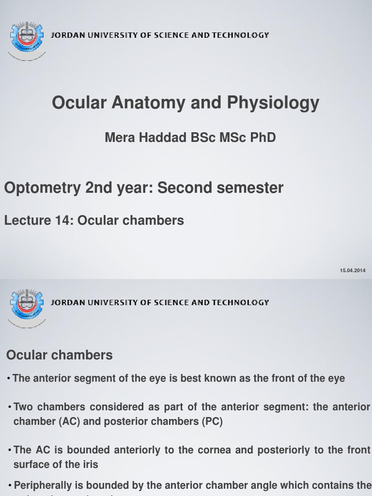 Lecture 14 Ocular Chambers | Glaucoma | Human Eye